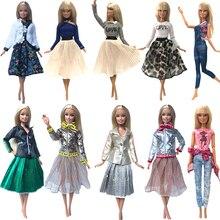 Nk 2020 mais novo vestido de boneca moda casual vestir roupas artesanais menina para barbie boneca acessórios diy brinquedos do bebê boneca g1 jj