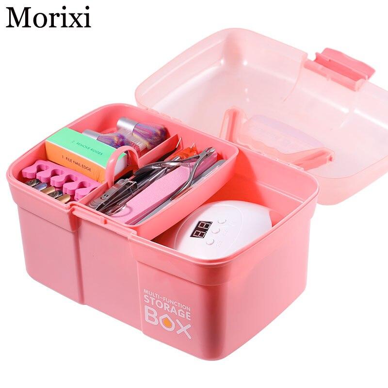 Nail Art UV Lamp Box Pink Color Storage Tool For Nail Acrylic Nail Kit Professional Set Large Capacity Pink Empty Box MZ252