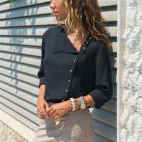Per il tempo libero Camicetta 2019 di Modo Manica Lunga Camicette Delle Donne e Magliette e camicette Skew Collare Solido Ufficio Camicia casual Magliette e camicette Blusas Chemise Femme