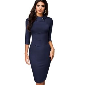 Image 4 - Nice forever vestido ceñido clásico elegante, Color puro, con botones, para oficina, trabajo, Formal, ceñido, mujer, lápiz, B574