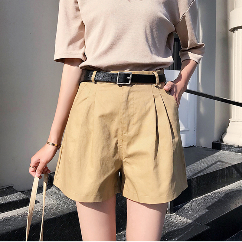 2019 Casual Summer Thin Shorts Women High Waist Wide Leg Ladies Shorts With Sashes Streetwear Korean Plus Size Black Short Mujer