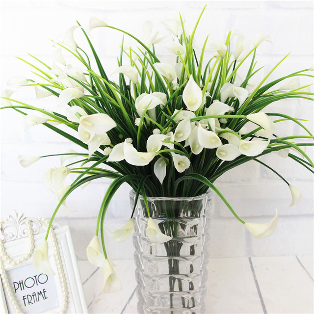 23 Con/1 Lô Bó Hoa Mini Nhân Tạo Calla Với Lá Lụa Giả Lily Thực Vật Thủy Sinh Nhà Trang Trí Phòng Hoa hoa Giả