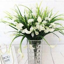 23 głowice/1 Lot bukiet Mini sztuczna kalla z liściem jedwabiu fałszywe lilia rośliny wodne dekoracja pokoju w domu kwiat sztuczne kwiaty