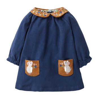 1-7 Years Baby Girl Dress Cotton Doll Collar for Kids Long-sleeved Corduroy Clothes for Toddler Girl  for Autumn and Spring 2020