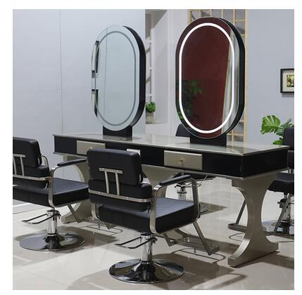 Mirror Hair Salon Web Celebrity Hair Salon, Hot And Dyeing Area, Led Lamp, Simple Two-sided European Hair Salon Mirror