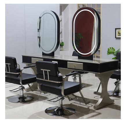 Mirror Hair Salon Web Celebrity Hair Salon, Hot And Dyeing Area, Led Lamp, Simple Two-sided European Hair Salon Mirror