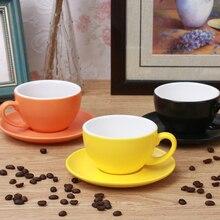240-300 мл Макарон широкий рот керамическая капучино кофейная кружка чашка с блюдцем наборы простота Европейская плотная цветная чашка для эспрессо