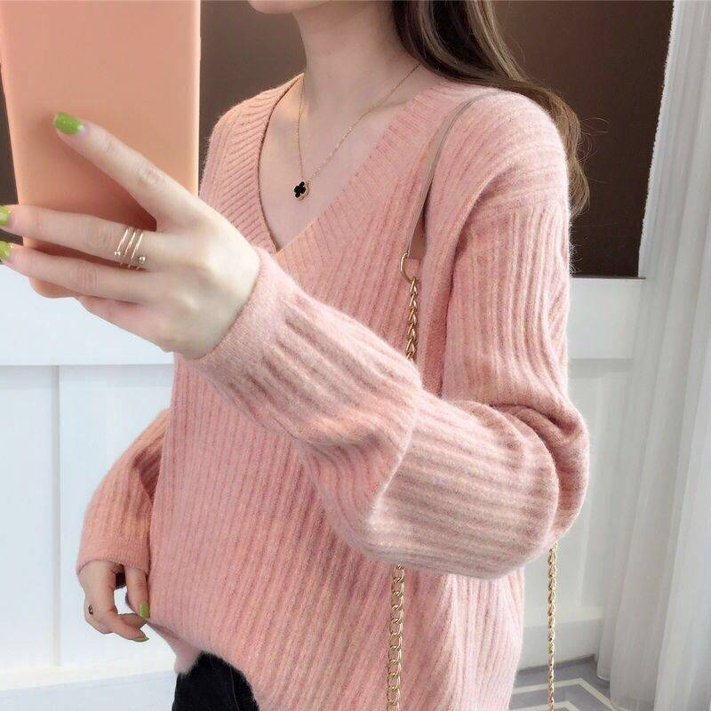 2019 New Women's Sweater Autumn  Winter Sweater Women's Loose Head Solid Color Long Sleeve 2019 New Embroidered Knit Top Female