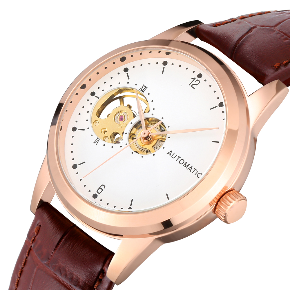 2 Years Warranty Mechanical Watch Women Gold Automatic Movement Luxury Female Watches Genuine Leather Band Non Brand Dropship