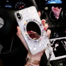 3D Cute Make Up Diamond Mirror Shell Glitter Soft Phone Case For Huawei P30 P20 Pro Nova3 3i Pink & White Fitted Luxury Case(China)