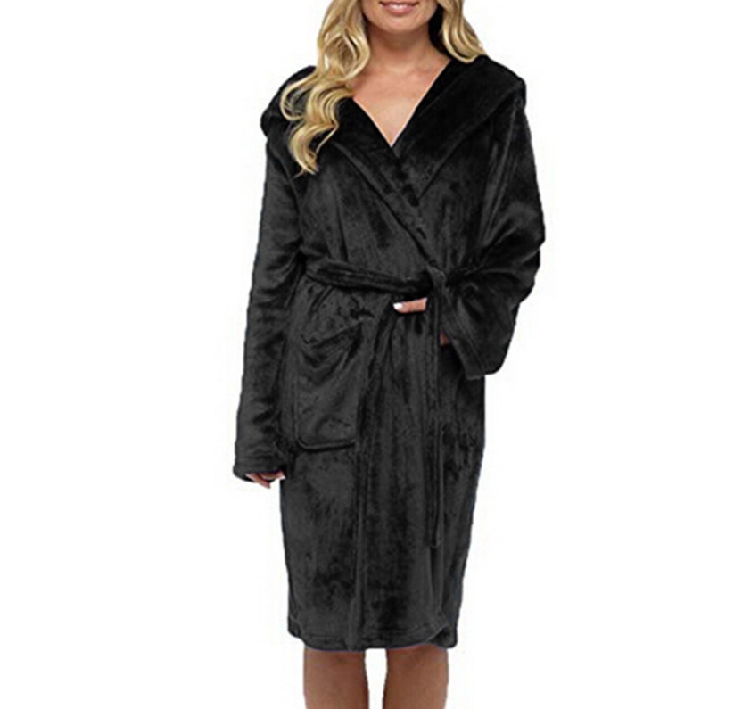 Night Dress Women Bathrobe Cotton Robe Womens Winter Lengthened Coralline Plush Shawl Bathrobe Long Sleeved Robe Coat