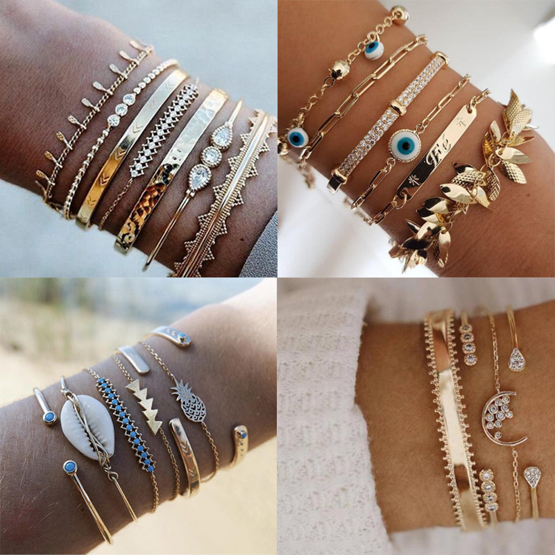 Tocona Bohemian Gold Tassel Bracelets for Women Summer Shell Clear Crystal Stone Pineapple Geometric Heart Bangle Jewelry(China)