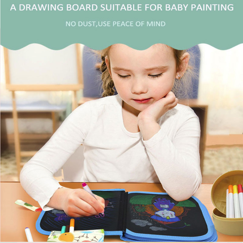 Children's Toys Rewritable Magic Novelty Canvas Doodle Paintin Or Whiteboard Blackboard Marker Pens With Magnetic Eraser