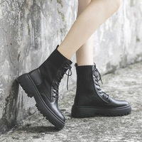 Women's Martin boots 2019 autumn and winter new British wind round head thick with ankle boots anti skid strap handsome thick bo