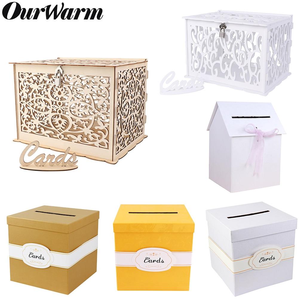OurWarm Wedding Card Box Creative Money Box Wedding Decoration  Paper Gift Boxes Storage Money Baby Shower Birthday Party Favor