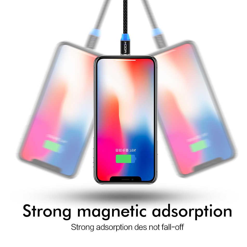 ROCK Veloce Carica Magnetica Tipo di Cavo C Micro Usb di Ricarica Veloce Usb C HA CONDOTTO LA Luce Del Telefono 1M Caricatore Magnete per il iPhone Xiaomi