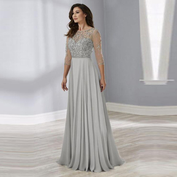 2020 New Gray Beading Bodice Illusion O Neck Mother of the Bride Dresses With Three Quarter Sleeves Wedding Party Gowns