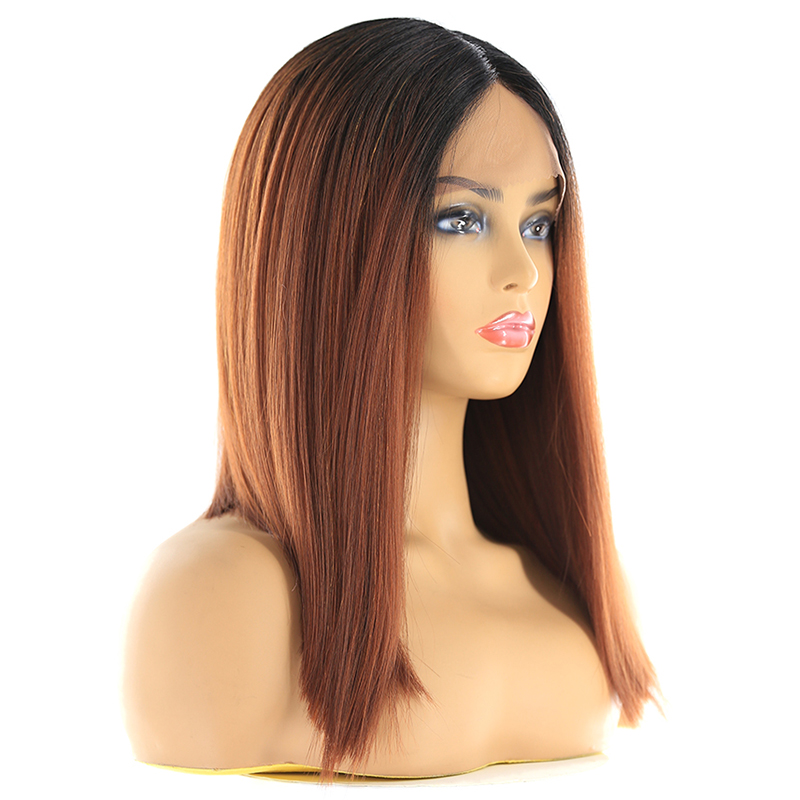 Image 2 - Ombre Green Blue Color Synthetic Lace Front Wigs For Black Women X TRESS Yaki Straight Blunt Short Bob Lace Wig Middle PartSynthetic Lace Wigs   -