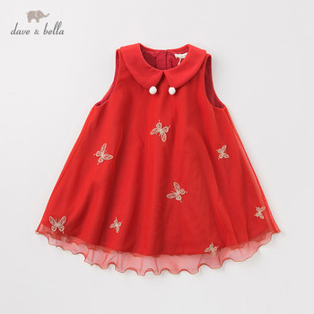DBJ11709-2 dave bella winter baby girl's princess butterfly vest dress children fashion party dress kids infant lolita clothes image