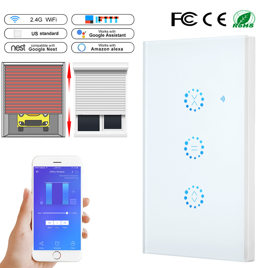 Smart Home WiFi Electrical Touch Blinds Curtain Switch Ewelink APP Voice Control by Alexa Echo for Mechanical Limit Blinds Motor-in Automatic Curtain Control System from Home Improvement