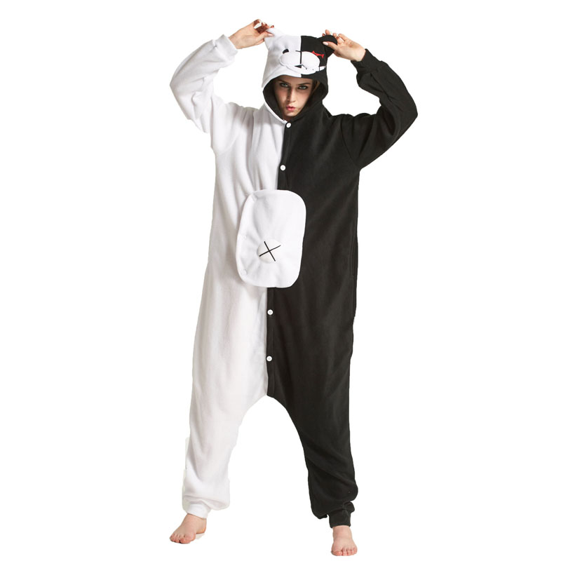 Black White Bear Kigurumi Animal Onesie Danganronpa Monokuma Pajama Women Adult Cartoon Overalls Suit Polar Fleece Sleepwear
