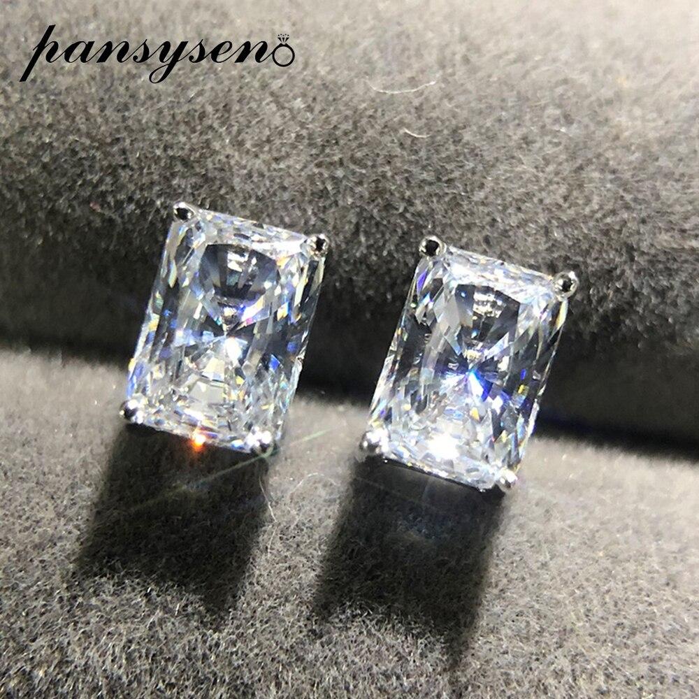 PANSYSEN 2ct Created Moissanite Diamond 925 Sterling Silver Stud Earrings Women Wedding Engagement Earring Jewelry Girl Gift