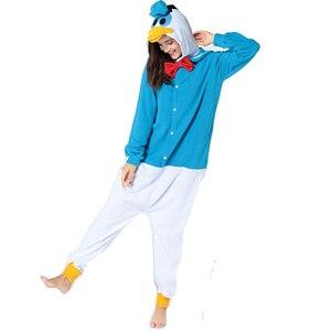 Image 3 - Hksng冬の大人の動物デイジーフリースアヒルのコスプレ衣装パジャマonesiesクリスマスハロウィン着ぐるみ家族のパーティー