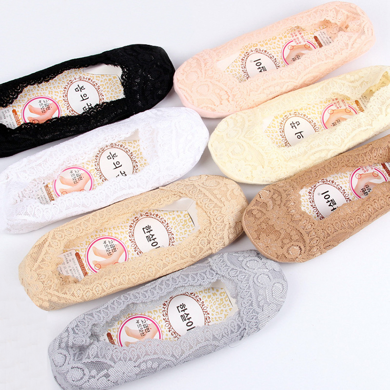 Women Lace Socks Harajuku Non-slip Seamless Sock Female Fashion Boat-socks 5pairs/lot #F