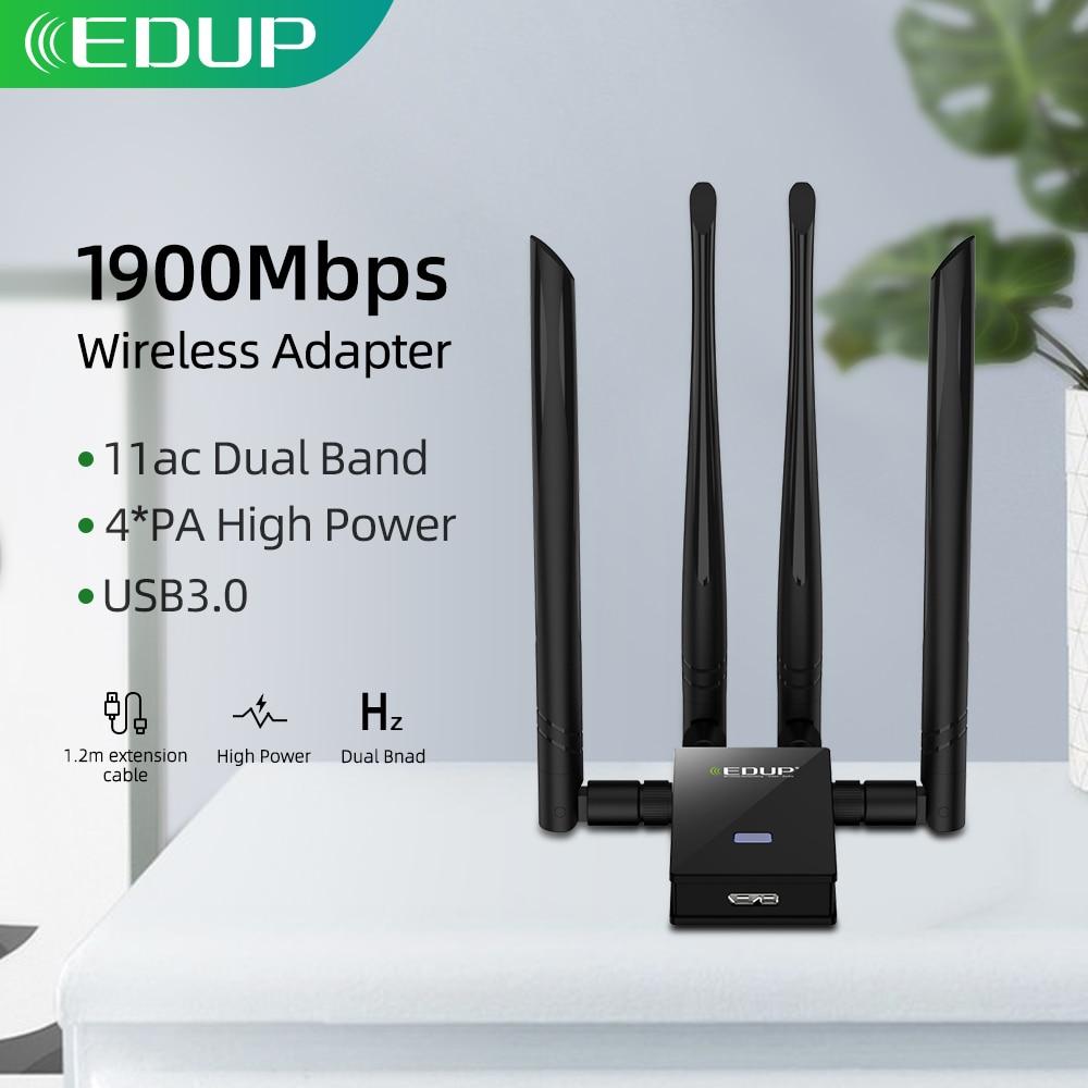EDUP 1900Mbps USB WIFI Adapter Dual Band 2 4G 5Ghz 4 6dBi Antennas Converter Desktop Wireless WIFI USB 3 0 Network Card Receiver