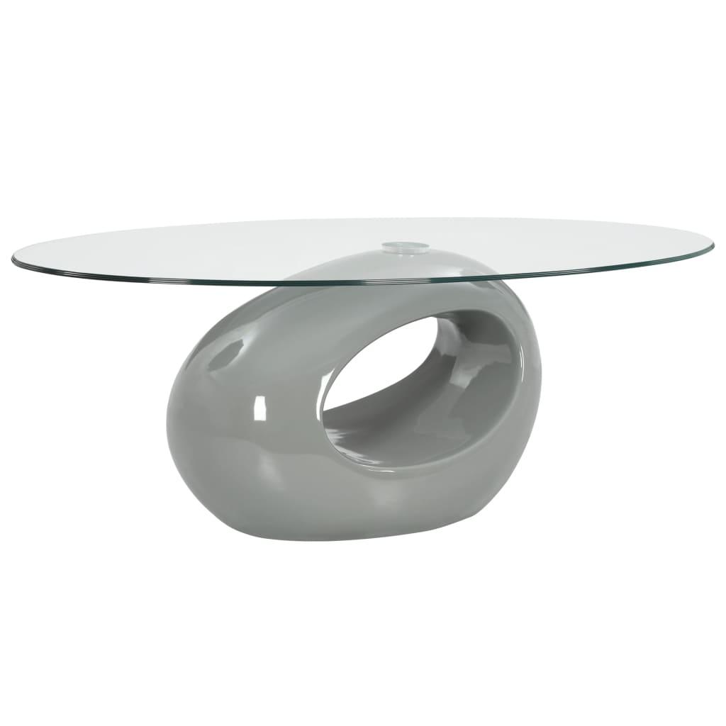 VidaXL Coffee Table With Oval Glass Top High Gloss Grey