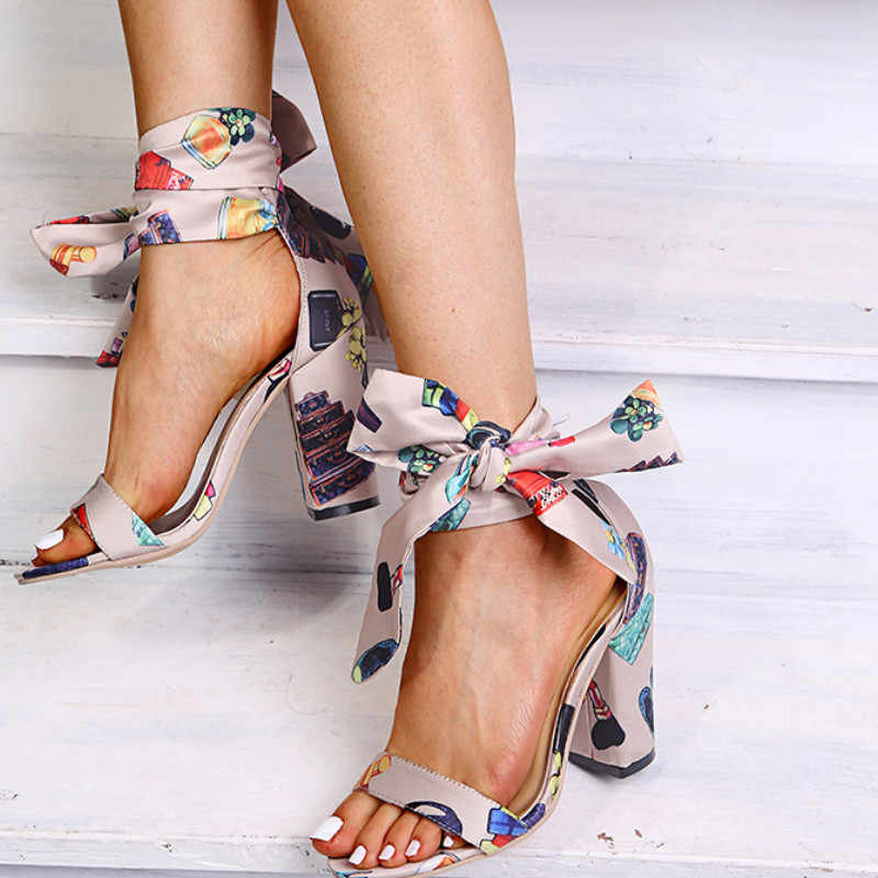 Kadın Sandalias yüksek topuklu seksi gladyatör roma sandalet yaz lüks şerit pompaları kadın ayakkabı parti elbise baskı topuklu Sandalias