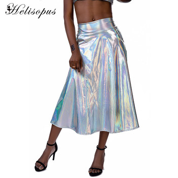 Helisopus 2020 New Gradient Holographic A-Line Skirts Multicolor Laser Shiny Party Long Festival Performance Clothes