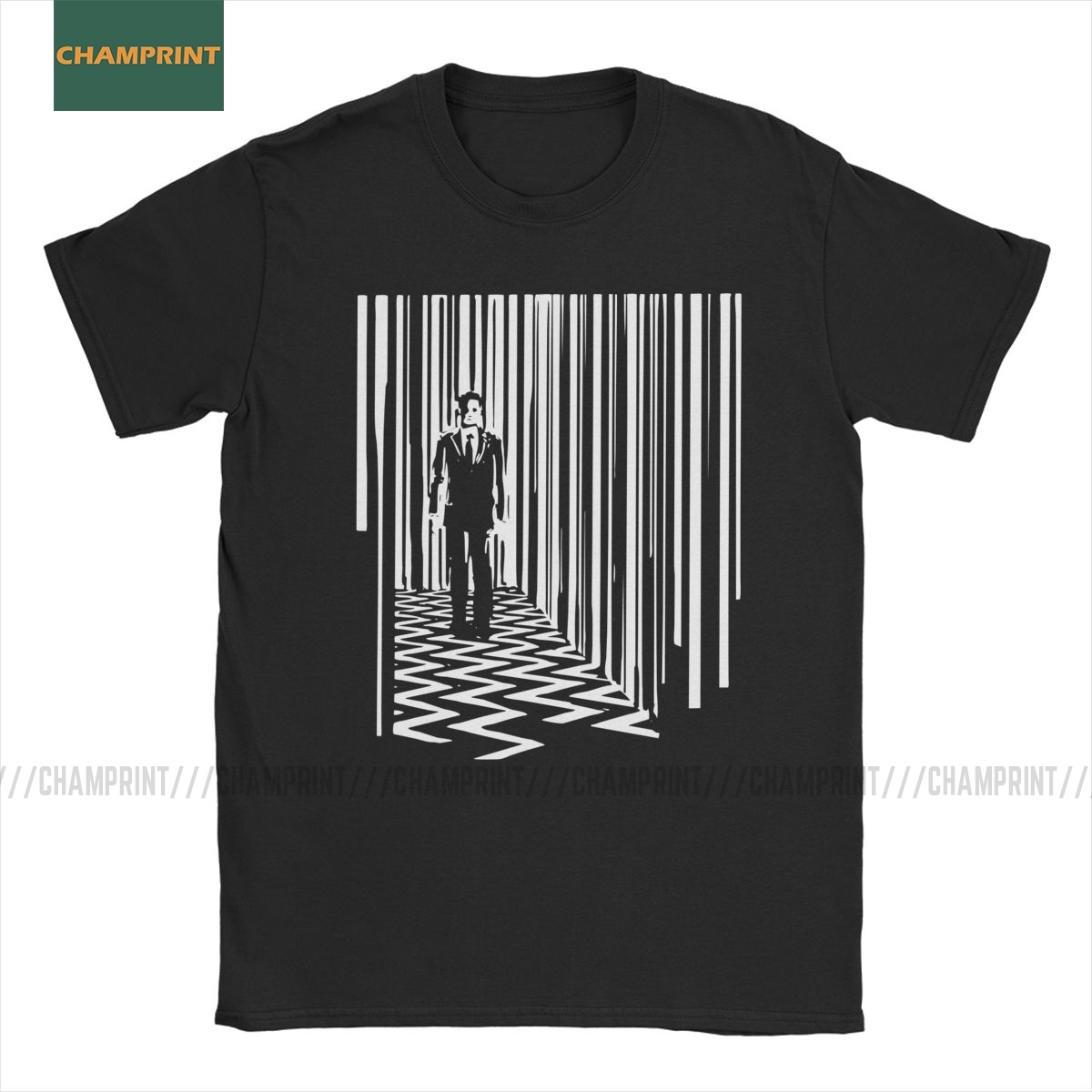 Men Black Lodge Twin Peaks David Lynch T Shirt Film Movie Directed Director Pure Cotton Short Sleeve Tee Shirt Adult T-Shirt image
