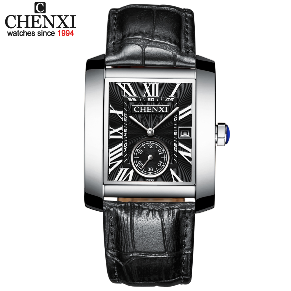 CHENXI New Fashion Square Dial Men Watches Analog Quartz Wristwatches Mens Leather Waterproof Date Chronograph Montre Homme