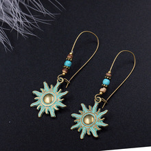 Women Fashion Earrings Dangle Round Shape Retro Symbols Sun Totem Drop Vintage