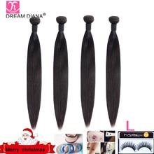 Индийские прямые волосы DreamDiana, 3/4 пучков, 8 30 дюймов, пряди плетеных волос без повреждений, натуральный цвет, 100% человеческие волосы для наращивания, низкое соотношение