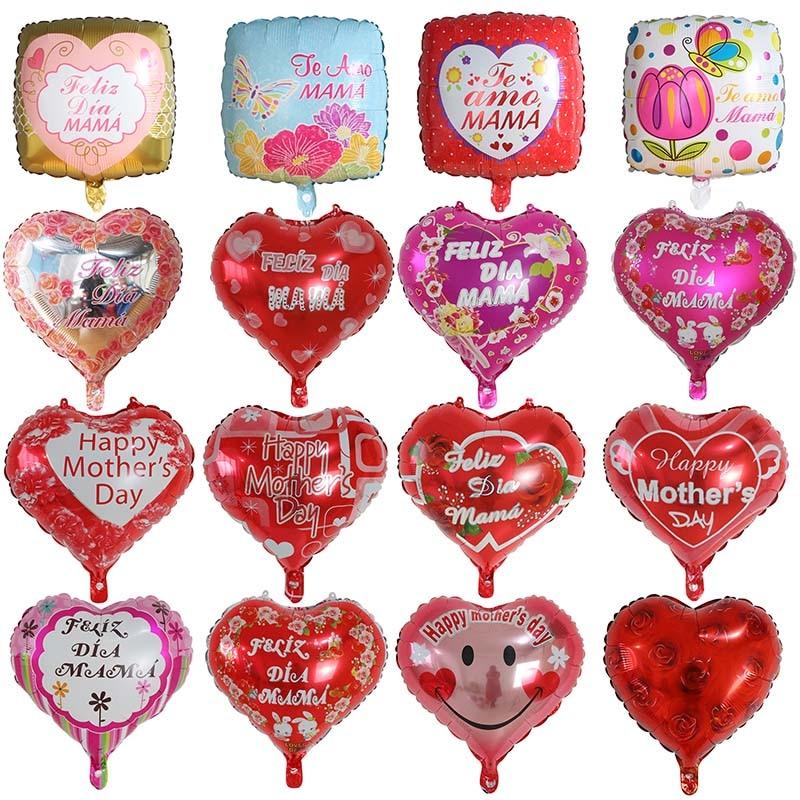 5 шт. 18 дюймов сердце Форма печатных испанская мать Фольга воздушные шары на День Матери гелия любовь Globos Декор I Love Mama шары подарки Balaos