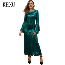 KEXU Femme Large Size 5XL Women Stitching Sequined Party Dress Temperament Maxi Dress Ladies Formal Celebrity Party Dresses все цены