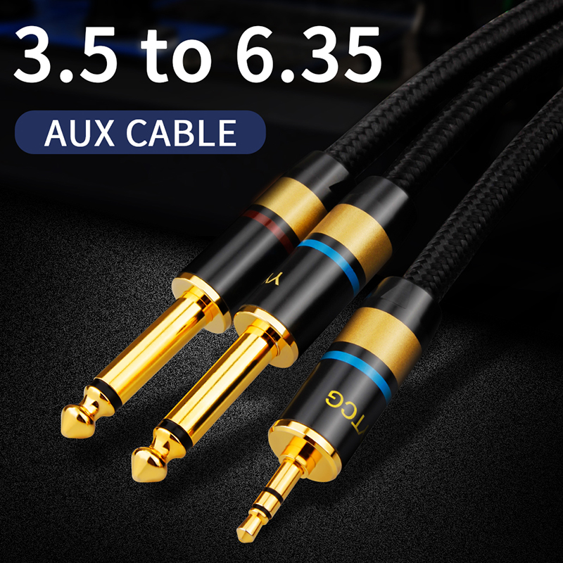 YYTCG Hifi Audio Cable Mini <font><b>Jack</b></font> 3.5mm to Dual 6.35mm for PC Headphone Mixing Console 1/8