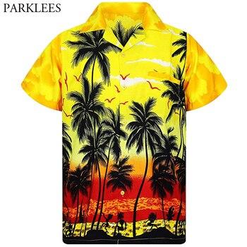 Yellow Hawaiian Beach Shirt Men 2020 Summer Fashion Palm Tree Printed Mens Tropical Aloha Shirts Holiday Vacation Chemise Homme