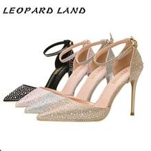 Леопардовые женские туфли на высоком каблуке с закрытым острым носком; женские туфли на полой подошве; блестящие стразы; женские свадебные босоножки; ZWM