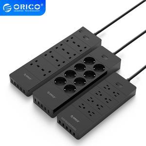 "Image 1 - ORICO כוח רצועת האיחוד האירופי ארה""ב בריטניה תקע חשמל שקע 8 מייצב מתח לשקע חשמל הרצועה עם 5x2.4A USB סופר מטען יציאות"