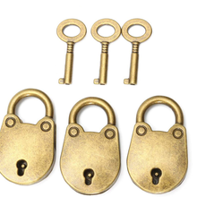 3/1Pcs Metal Old Vintage Style Mini Padlock Small Luggage Box Key Lock Copper Color Lot Of Home Usage Hardware Decoration