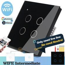 (Gerek nötr) WIFI dokunmatik işık duvar anahtarı siyah cam mavi LED akıllı ev telefon kontrolü 4 Gang 2 yollu Alexa Google ev