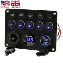 Fusibile in linea Scatola di 5 Gang Blu LED Rocker Switch Panel Voltmetro Dual USB Presa di Ricarica 12V 24V Del Veicolo yacht Nave Auto Barca Marine