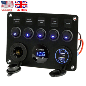 Image 1 - Inline Fuse Box 5 Gang Blue LED Rocker Switch Panel Voltmeter Dual USB Charger Socket 12V 24V Vehicle Yacht Ship Car Boat Marine
