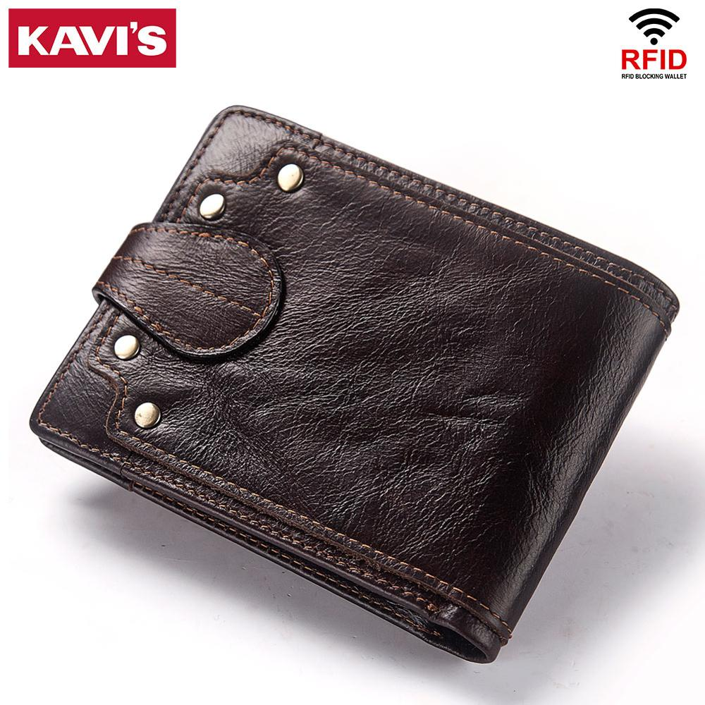 KAVIS Genuine Cow leather Male Wallet Men's Purse Small RFID Leather Perse Mini Card Holder Storage Walet Bag Hasp Coin Purse