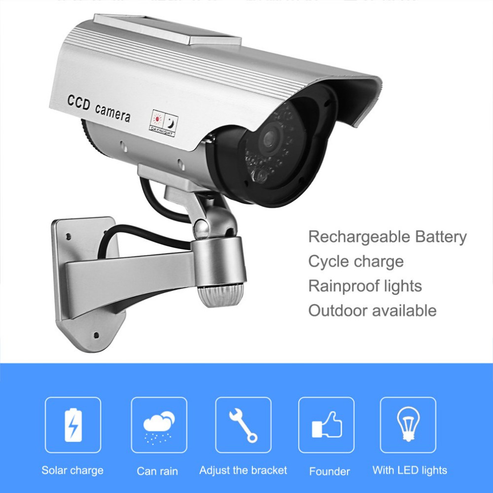 Fake Camera Solar Power Dummy Camera Waterproof Outdoor Security CCTV Surveillance Dummy Camera Bullet With LED Light