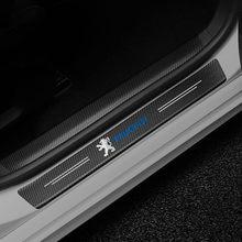 4 шт. автомобиль Накладка на порог двери Анти-Царапины углеродного волокна Стикеры для Peugeot 107 108 206 207 308 307 508 2008 3008 аксессуары