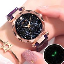 Fashion Purple Star Sky Womens Watch Luxury Female Stainless Steel Magnetic Quartz Clock Ladies Dress Wrist Watches Dropshipping